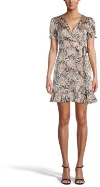 Bar III Printed Ruffled Faux-Wrap Dress, Created for Macy's