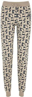 Kenzo Taupe Logo-intarsia Knitted Sweatpants