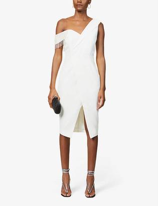 Lavish Alice V-neck embellished crepe midi dress