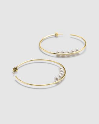 Ca Jewellery Pearl Hoop Earrings Gold