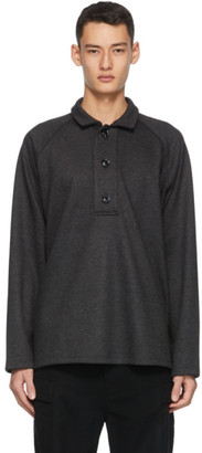 Winnie New York Grey Oversized Placket Long Sleeve Polo