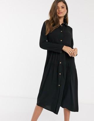 ASOS DESIGN tiered smock midi shirt dress in black