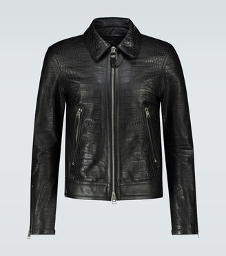 Tom Ford Crocodile effect leather jacket