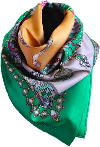 Belle Epoque L'illustration Green Jeweled Princess Silk Scarf