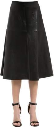 Rosetta Getty Flared Stretch Leather Midi Skirt