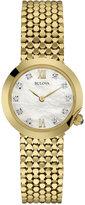 Bulova Women's Diamond Accent Gold-Tone Stainless Steel Mesh Bracelet Watch 28mm 97P114