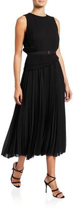 Jason Wu Collection Belted Chiffon Pleated Sleeveless Midi Dress