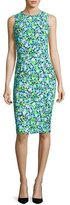 Michael Kors Spring Floral Sleeveless Sheath Dress, Turquoise