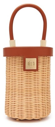 Sparrows Weave - The Cylinder Wicker And Leather Bag - Womens - Tan