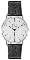 Rotary Gs90050/02 Les Originales Kensington Leather Strap Watch, Black/white