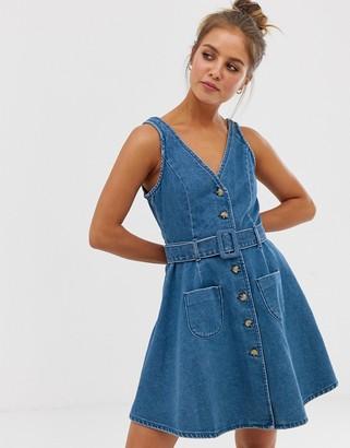 Asos DESIGN denim skater button through dress with belt in blue