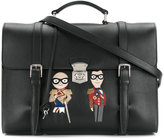 Dolce & Gabbana military designer's patch briefcase - men - Calf Leather - One Size