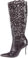 Casadei Laser Cut Pointed-Toe Boots