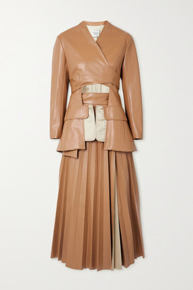 A.W.A.K.E. Mode Cutout Pleated Faux Leather Wrap Maxi Dress - Beige