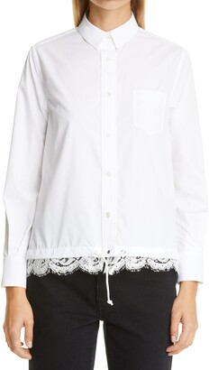 Sacai Lace Trim Poplin Button-Up Shirt