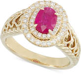 RARE Featuring GEMFIELDS Certified Ruby (2/3 ct. t.w.) and Diamond (1/3 ct. t.w.) Heart Ring in 14k Gold