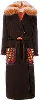 Fendi single breasted coat - women - Fox Fur/Plastic/Cashmere/Lamb Fur - 44