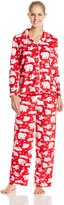 Karen Neuburger Women's Minky Fleece Holiday Novelty Pajama Bears and Flakes Red