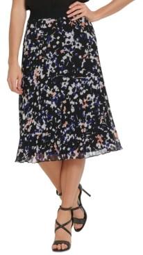 DKNY Printed Pleated Midi Skirt