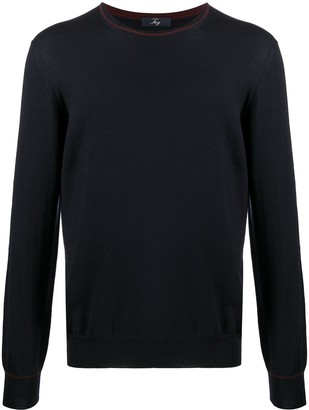 Fay Contrast Piping Virgin Wool Jumper