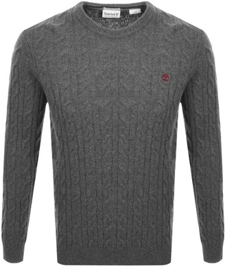 Timberland Lambswool Cable Knit Jumper Grey