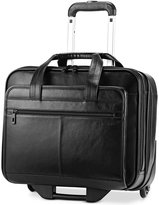 Samsonite Leather Rolling Mobile Office Laptop Briefcase
