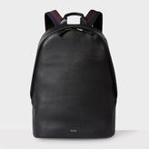 Men's Black Leather 'City Webbing' Backpack