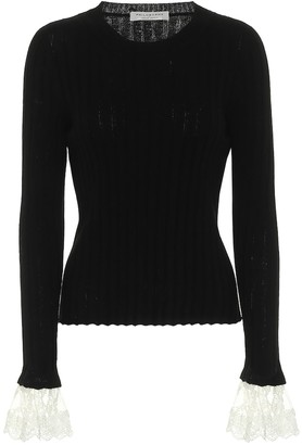 Philosophy di Lorenzo Serafini Lace-trimmed cashmere-blend sweater