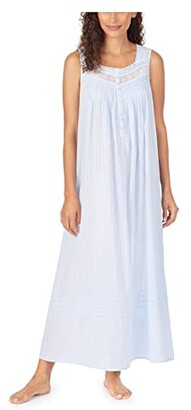 Eileen West Cotton Dobby Stripe Woven Sleeveless Ballet Nightgown (Blue) Women's Clothing