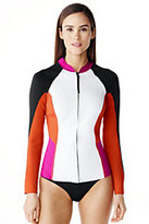 Lands' End Women's Neoprene Long Sleeve Jacket-Black/Berry Pink