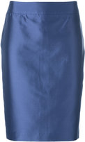 Armani Collezioni metallic pencil skirt - women - Cotton/Polyester/Spandex/Elastane/Mulberry Silk - 44