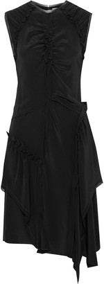 Jason Wu Asymmetric Ruched Silk-crepe Midi Dress