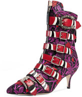 Gucci Susan Jacquard Buckle 65mm Bootie, Purple