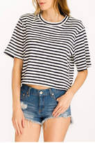 Olivaceous Cropped Striped Tee