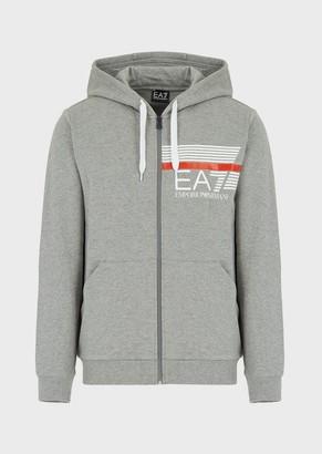 Ea7 Hooded Sweatshirt With Logo Zip