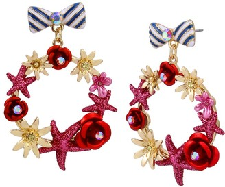 Disney Minnie Mouse Bow and Wreath Earrings by Betsey Johnson