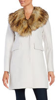 Kate Spade Faux Fur-Trimmed Wool-Blend Walker Coat