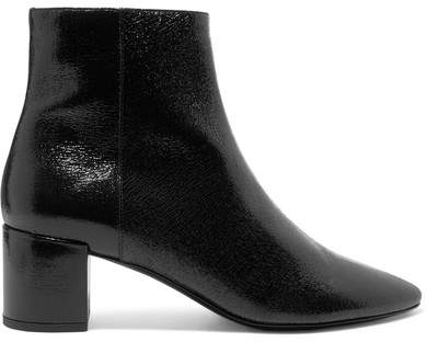 Saint Laurent Lou Cracked Glossed-leather Ankle Boots - Black