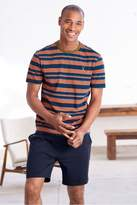 Mens Next Orange/Navy Stripe Jersey Short Pyjama Set - Orange