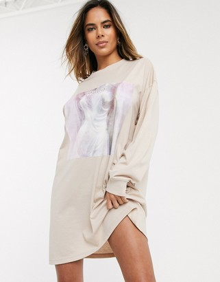 Public Desire relaxed long sleeve sweatshirt dress with amor graphic