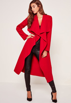 Missguided Oversized Waterfall Duster Coat Red