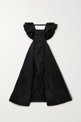 Elie Saab Ruffled Asymmetric Mikado Gown - Black