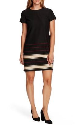 Vince Camuto Linear Plains Border Stripe Twill Dress