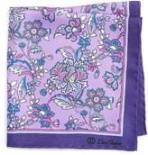 David Donahue Men's Floral Silk Pocket Square