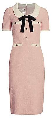 Gucci Women's Tweed Bouclé Peter Pan Collar Shift Dress