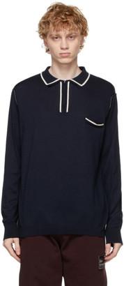 Maison Margiela Navy Knit Long Sleeve Polo