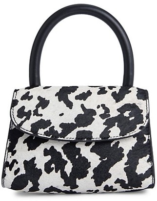 BY FAR Mini Amber Cow-Print Faux Calf Hair & Leather Top Handle Bag
