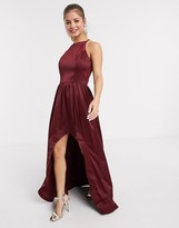 Chi Chi London Chi Chi Jaynae satin dress with high low hem in wine