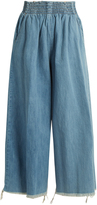 Rachel Comey Frayed-hem high-rise wide-leg denim culottes