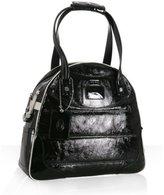 black crinkled patent 'Madison' bowler bag